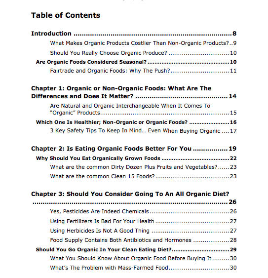 Organic Living PLR Review Table of Contents Part 1 of 3