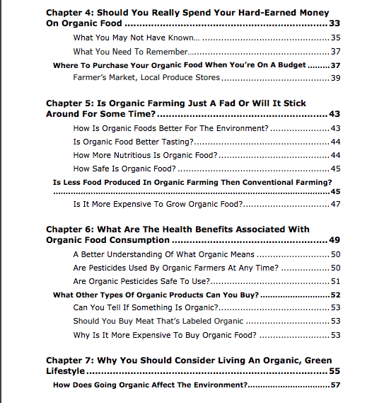 Organic Living PLR Review Table of Contents Part 2 of 3