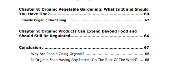 Organic Living PLR Review Table of Contents Part 3 of 3